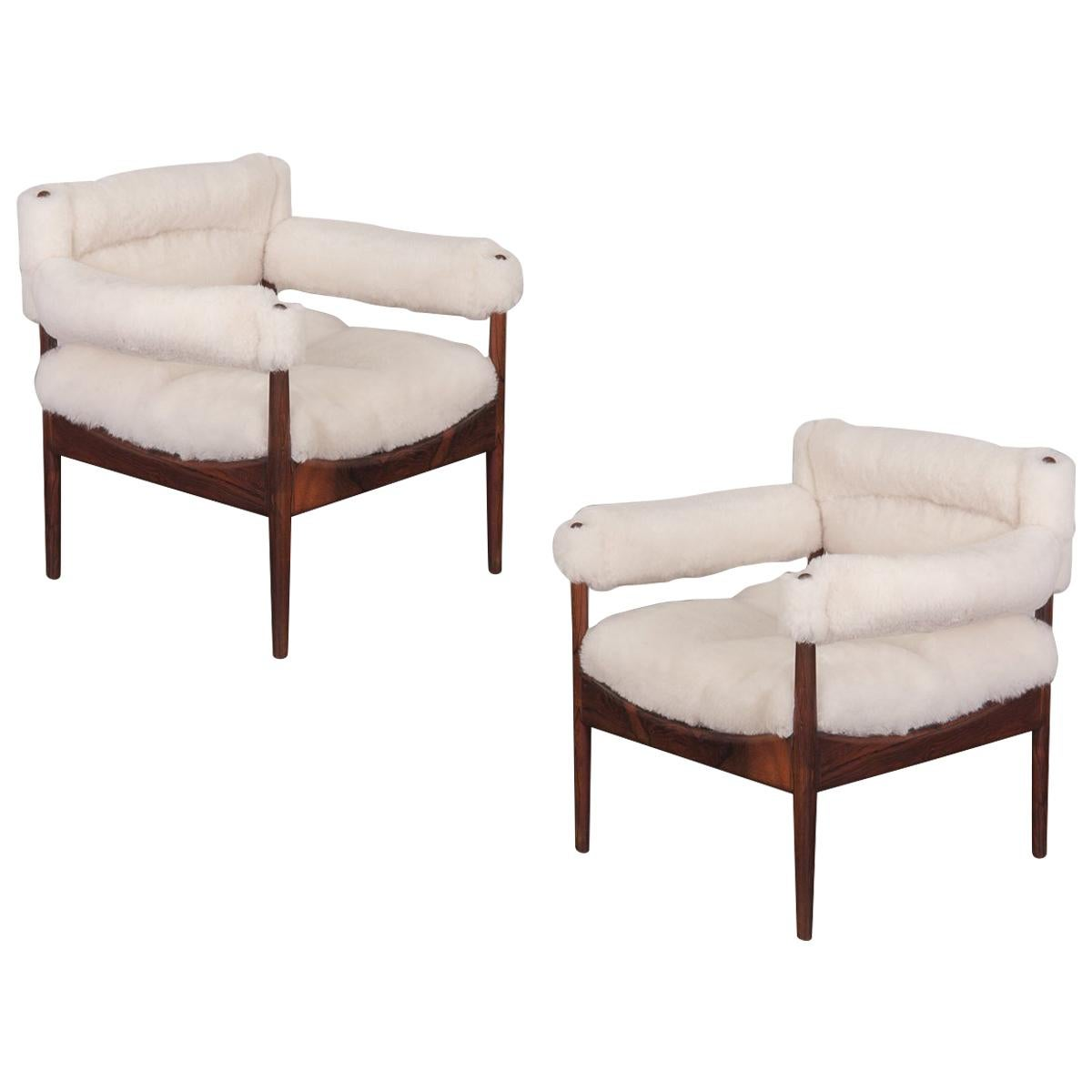 Pair of Kristian Vedel Sheepskin Modus Low Back Lounge Chairs