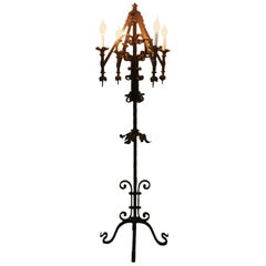 Arts and Crafts Gothic Revival Floor Lamp Wrought Iron