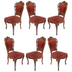 Louis XV Style Mahogany Dining Chairs with Carved Pierced Backs, Set of Six
