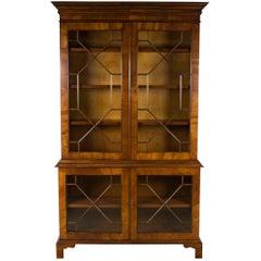 Mahogany Breakfront Glass Door Adjustable Bookcase Cabinet