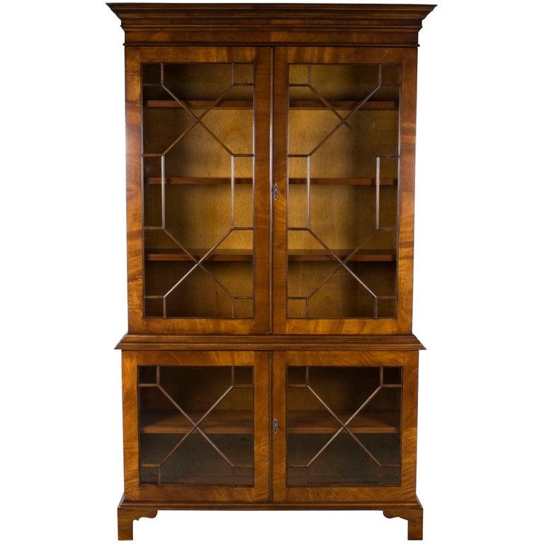 Mahogany Breakfront Gl Door Adjule Bookcase Cabinet