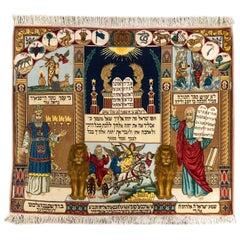Persian Hand Knotted Jewish Scenery Wool Silk Tabriz Rug