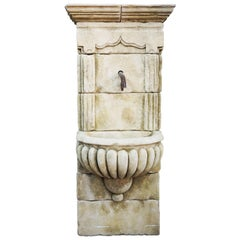 Mid Century Antique Limestone Wall Fountain