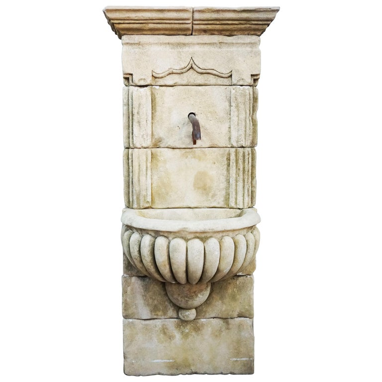 Mid Century Antique Limestone Wall Fountain For Sale
