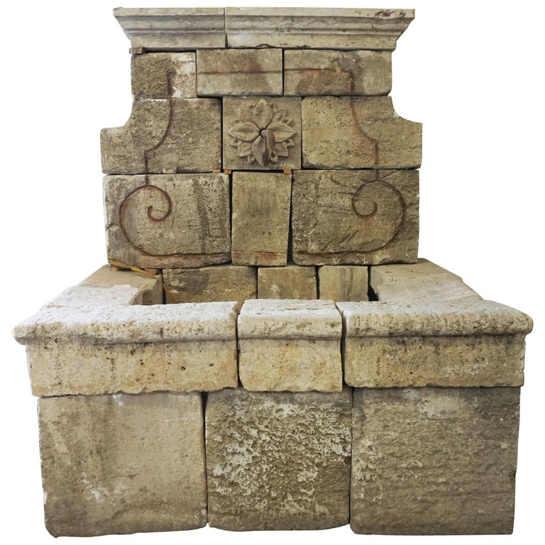 Antique Limestone Wall Fountain, circa 1850 For Sale
