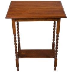 English Barley Twist Oak Rectangular End Side Lamp Table