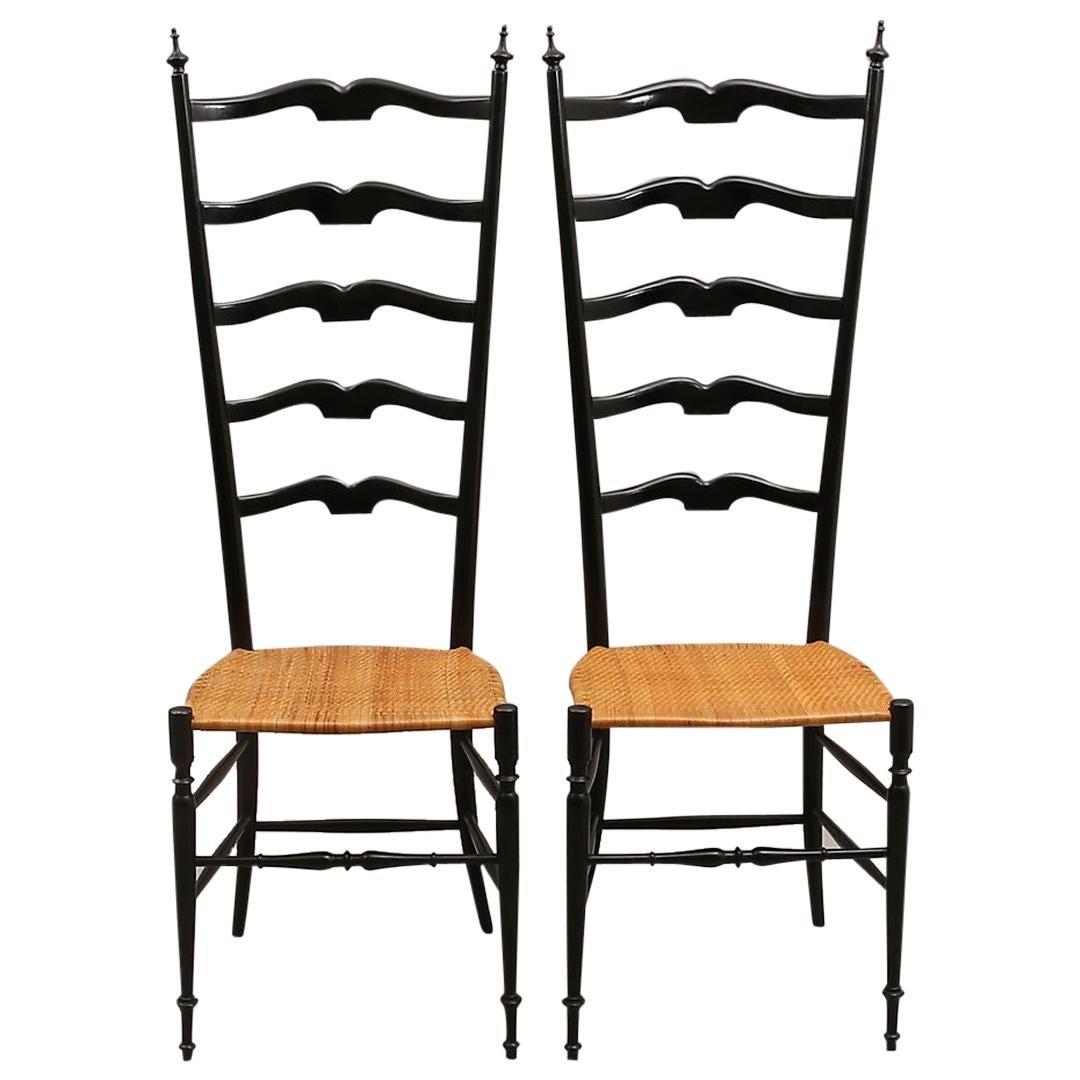 Pair of Midcentury High Back Ebonized Chiavari Chairs