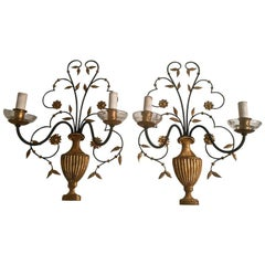 Fine Pair of Sconces in the Style off Baguès, France, 1950