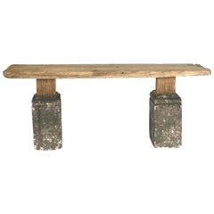 Rustic Modern Stone and Elm Console