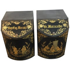 Pair of Antique Chinoiserie Tole Floor Model Tea Canisters by Henry Thoemner