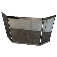 Polished Nickel and Black Metal Mesh Adjustable Three-Panel Fire Screen