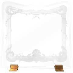 Modern Contemporary Etched and Scalloped Fireplace Screen Brass Stands