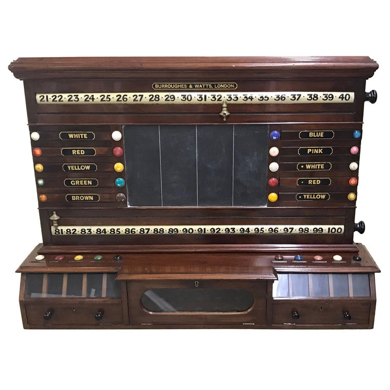 Antique English Billiards Score Board by Burroughes & Watts, London For Sale