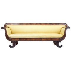 19th Century Carved Flame Mahogany Swedish Sofa