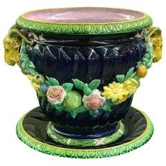 Mintons Majolica Jardinière and Underplate, Designed by Baron Carlo Marochetti