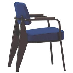 Vitra Fauteuil Direction in Ink Blue and Chocolate by Jean Prouvé