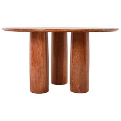 "1970 Red Travertine Mario Bellini ""Colonnato"" Round Dining Table"