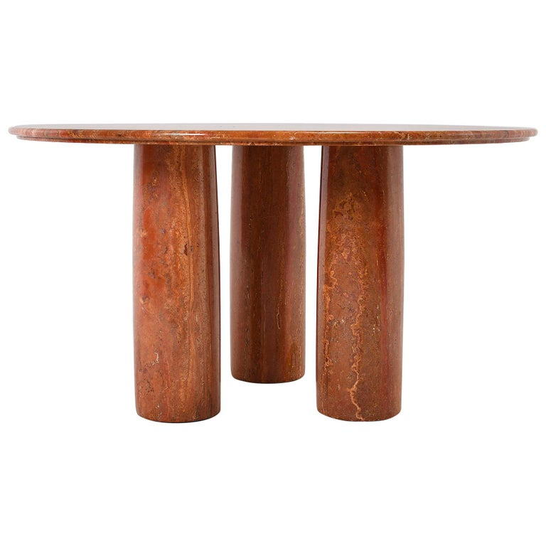 "Red Round Dining Table: 1970 Red Travertine Mario Bellini ""Colonnato"" Round Dining"