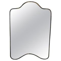 Brass Frame Italian Shield Mirror, 1950s