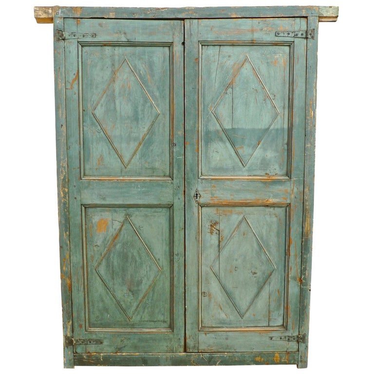 Pair of French 19th Century Hand Carved and Hand Painted Corner Piece Doors For Sale