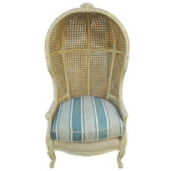 French 1920s Hand Carved, Hand Painted Cane Canopy Armchair