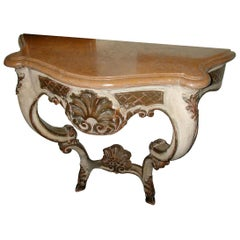 Italian XIX Hand Carved, Hand Painted Wood Console Table with Marble Top