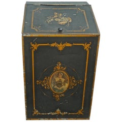 French 1920s Metal Storage Bin with Decorative Hand Painted Portrait of a Woman