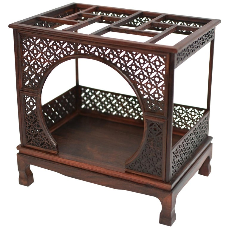 Mini Chinese Moon Bed, Wenge Wood Model For Sale