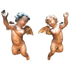Antique 19th Century Pair of Carved and Polychrome Wood Putti Sculptures