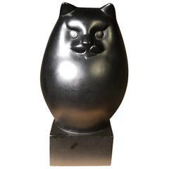 Japanese Big Black Cat with Charming Art Deco Lines and Fine Details