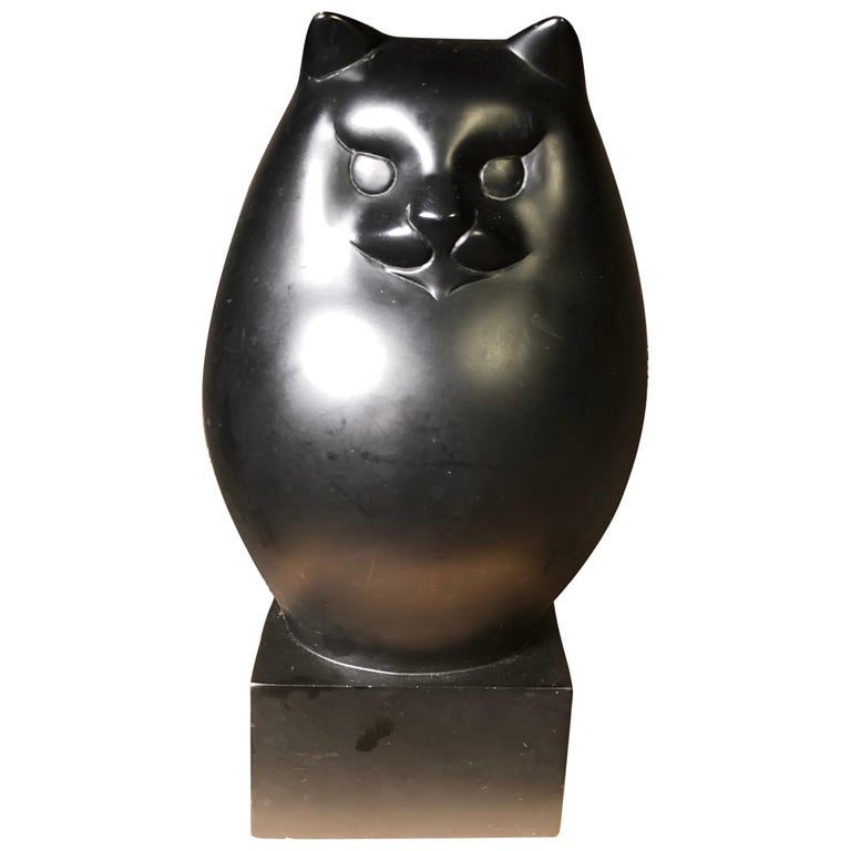 Japanese Big Black Cat with Charming Art Deco Lines and Fine Details For Sale