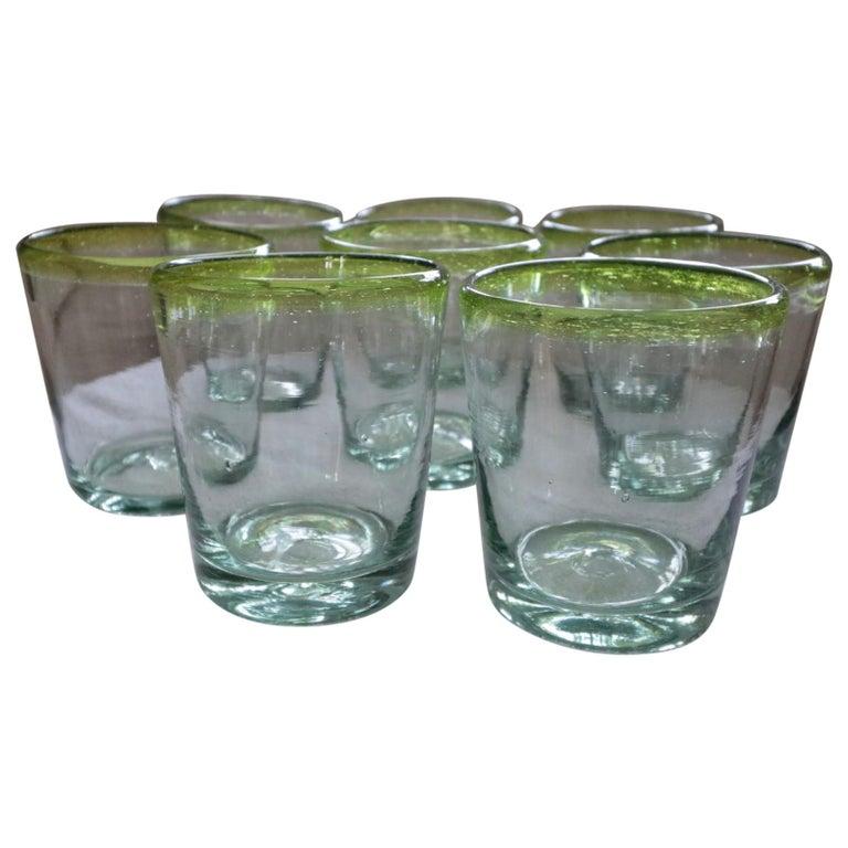 Set of 8 Pretty Sea Glass Green Murano Hand Blown Glass Ware For Sale
