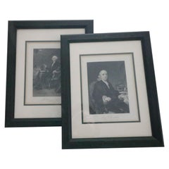 Pair of Black and White Regal Prints, George Washington and Ben Franklin