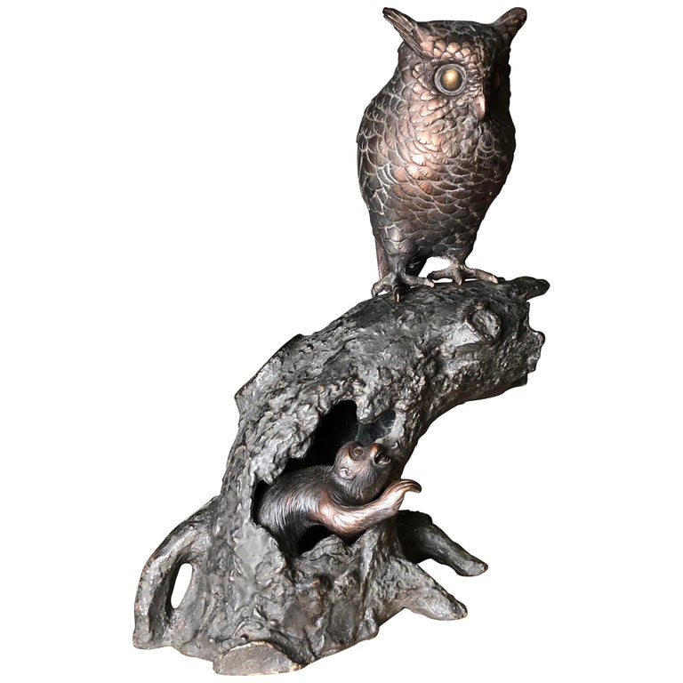 Japanese Antique Bronze Perched Owl and Tree and Friend Original Signed Box For Sale