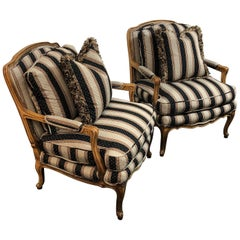 Baker Furniture Bergere Chairs, a Pair