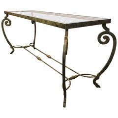 Verdigris Metal and Glass Console