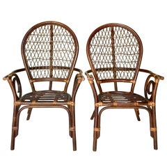 "20th Century Pair of Bent Rattan and Wicker High Back ""Balloon"" Armchairs"