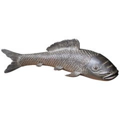 Big Old Japan Large Hand Cast Bronze Koi Fish Fortune and Prosperity Talisman
