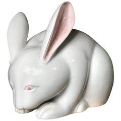 Japanese Massive Pure White Rabbit Sculpture, Long, Signed Kutani, 1940s