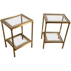 Pair of Glass and Mirror and Brass Side Tables in Maison Bagues Style
