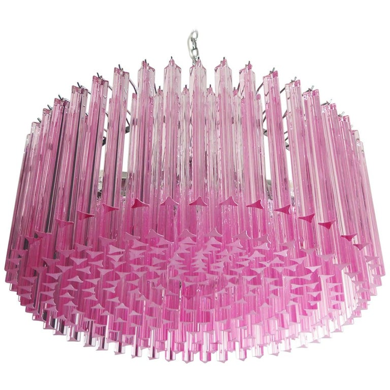 Triedri Glass Chandelier, 265 Pink Prism, Murano For Sale