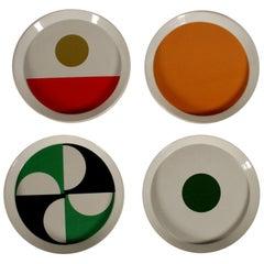 Set of Plates by Gio Ponti Glazed Ceramic Vintage, Italy, 1967