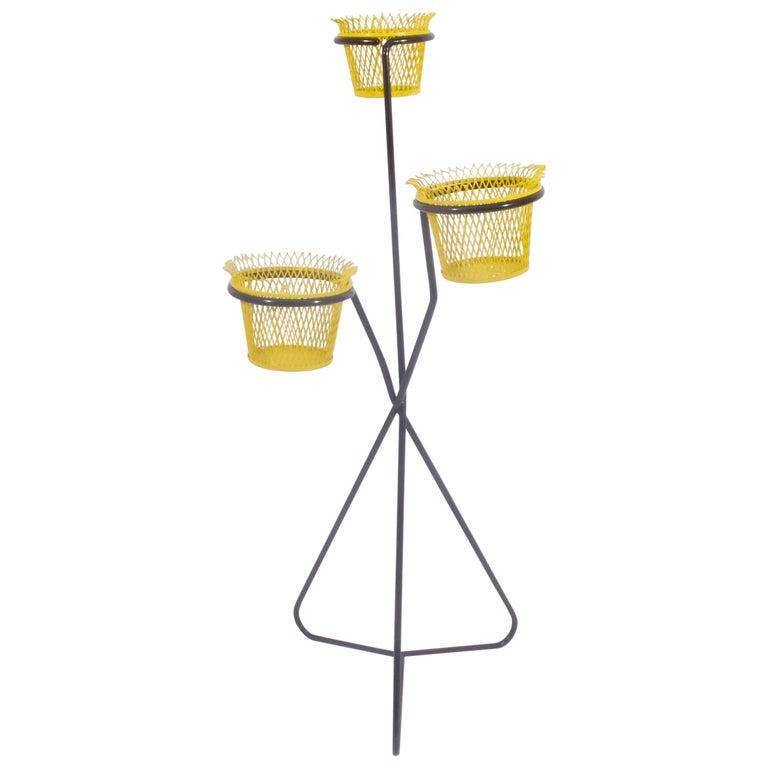 Ateliers Mathieu Matégot Triple Plant Stand Jardiniere Flower Stand Cache Pot For Sale