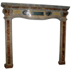 18th Antique Italy Fireplace in Bardiglio Gray Marble, Yellow, Green, Red, Rich