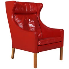 Børge Mogensen Wingback Chair in Original Red Leather, Model 2204