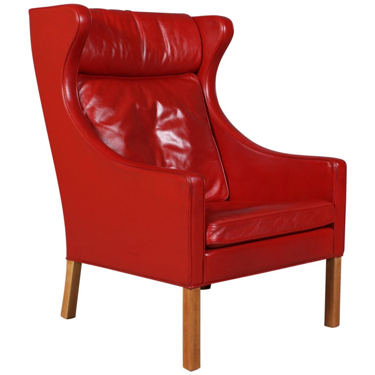 Red Leather Wingback Chair For Sale: Børge Mogensen Wingback Chair In Original Red Leather