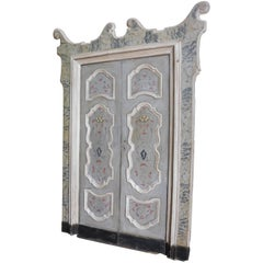 18th Century Antique Four Wood Lacquered Doors, Italy, Grey and Fake Marble
