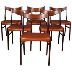 Arne Wahl Danish Rosewood and Leather Dining Chairs, Set of 6