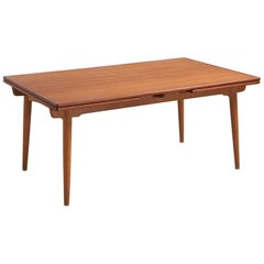 A rare large version of AT-312 dining table for Andreas Tuck by Hans Wegner