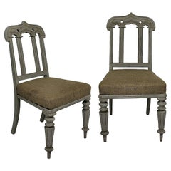 Pair of English William IV Painted Gothic Chairs